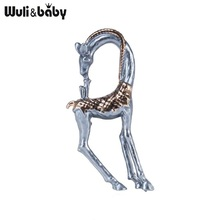 Wuli&baby Enamel Giraffe Brooches For Women Lovely 2-color Animal Casual Office Brooch Pins Gifts crystal enamel green gecko brooches lizard brooch pins animal corsage chameleon scarf buckle