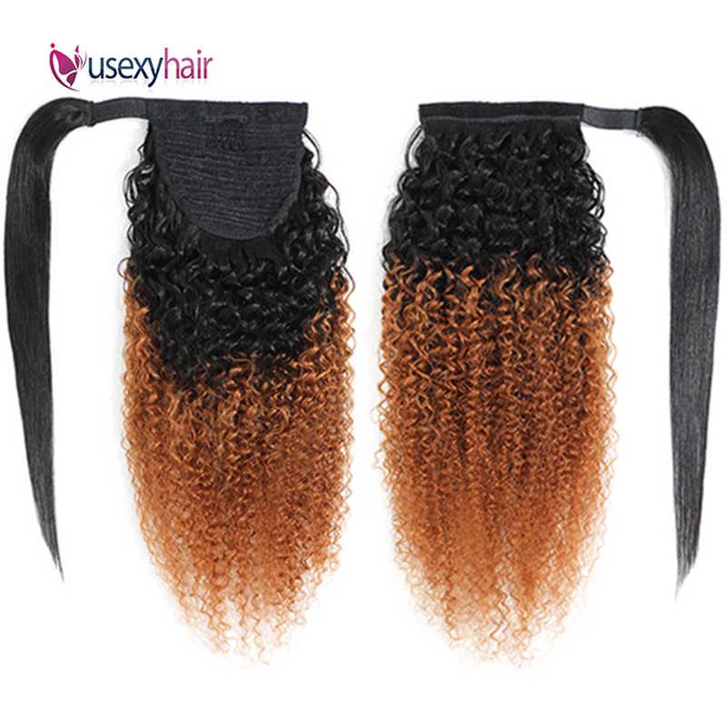 Kıvırcık insan saçı at kuyruğu brezilyalı Remy Ombre derin dalga İpli Pony Tail saç parçaları Afro etrafında sarın saç uzatma klibi