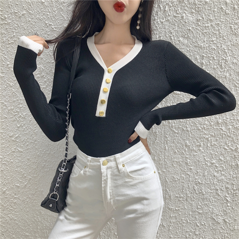 Women Sweater And Pullover 2019 New Autumn Winter Button V Neck Tops Slim Knitted Pullovers Long Sleeve Shirt Jumper Female