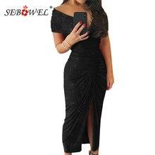 Женское вечернее платье с открытыми плечами v образным вырезом