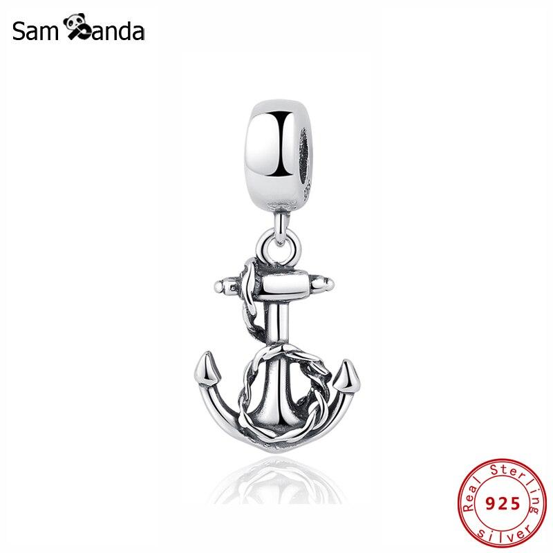 Аутентичные 100% Стерлинговое Серебро 925 пробы Шарм бисера символ стабильности Подвески якорь Fit Pandora Браслеты для женщин Diy ювелирные изделия