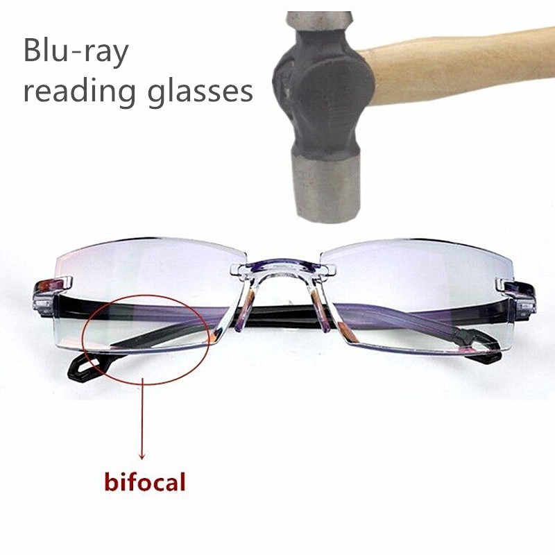 2020 Men Women Rimless Reading Glasses Bifocal Far Near Anti Blue Light Magnification Eyewear Presbyopic Glasses Diopter okulary