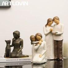 Artlovin esculpido mão-pintado figura juntos/amizade/fiel estatueta resina cão escultura dia dos namorados presente da mãe