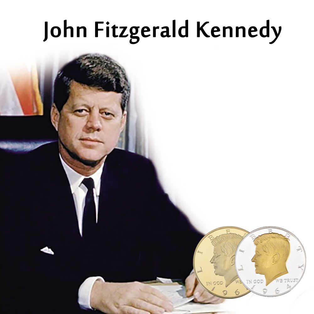 RH 1964 35th Tổng Thống Bạc Mạ Vàng John Fitzgerald Kennedy Tiền Kim Loại Kỷ Niệm Sưu Tầm Cho Quà Tặng Kinh Doanh