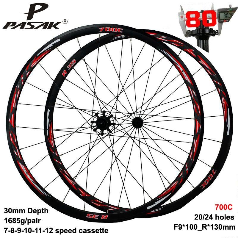 Size : 700C Ruote per Bici da Corsa 700C Doppio Muro Alluminio Freno A V Mozzo Cuscinetti Sigillati Altezza Cerchio 40 MM Ruota del Freno a Disco