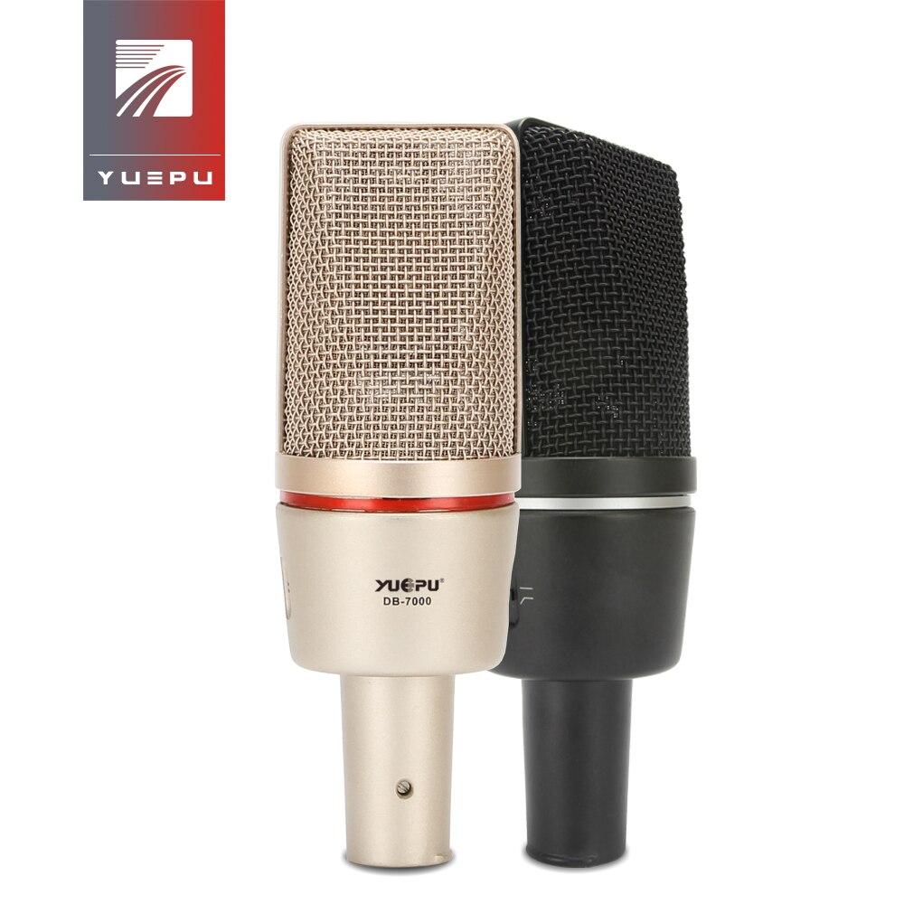 YUEPU C7000 Студийный конденсаторный микрофон с фантомным питанием 48 В, запись голоса, инструментальная запись, звук, аудио, компьютер, видео, Инт