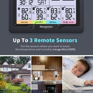Метеостанция Newentor Q5 с 3 датчиками, беспроводной цифровой гигрометр для дома и улицы, датчик влажности и температуры
