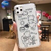 Funda de silicona de DISNEY Winnie the Pooh para IPhone, 11, 12Pro, Xs, Max, SE 2020, 6, 7, 8 Plus, funda completa oficial de silicona líquida 360