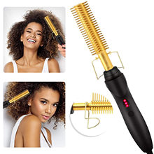 2 in 1 Hot Sale Electric Star-Shaped Hair Straightener Curler Comb Hairstyling Iron Tool for Women Girls Salon Thick Hair Use