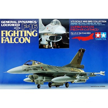 Tamiya 60701 1/72 Scale US General Dynamics F-16 Fighting Falcon Fighter Plane Military Toy Plastic Assembly Building Model Kit