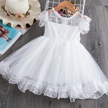 Kids Girl Ball Gown Dress NEW White Toddler Girl Summer Lace Dress 2-7Year Princess Birthday Party Dress Children Clothing new baby princess flower girl dress lace appliques wedding prom ball gown pink birthday communion toddler kids tutu dress