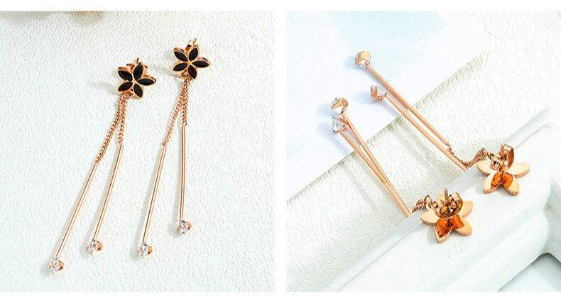 Elegant Cz Zircon Charm Pendent Snake Chain Tassel Earrings CLOVER JEWELLERY