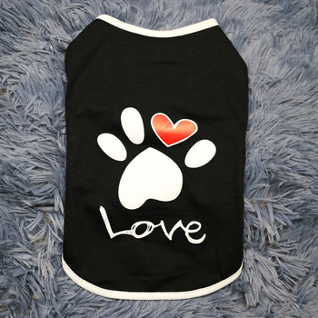 Summer Dog Cat T shirt Clothes Bichon Teddy Spring Pet Cotton Vest T Shirt With Paw Printed Heart Love Design Coat Puppy Apparel image