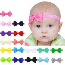 Cute Kids Kids Lovely Grosgrain Ribbon Bowknot Headband Bow Tie Small Mini Thin Elastic Head Band Girls Hairbands Baby Hair Acce