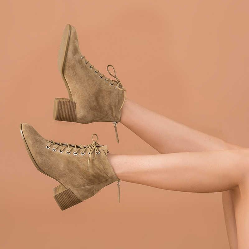 BeauToday yarım çizmeler Kadın Çocuk Süet Deri Yuvarlak Ayak Dantel-up Yüksek Topuk Çizmeler Sonbahar Kış Bayan Ayakkabıları El Yapımı 03361