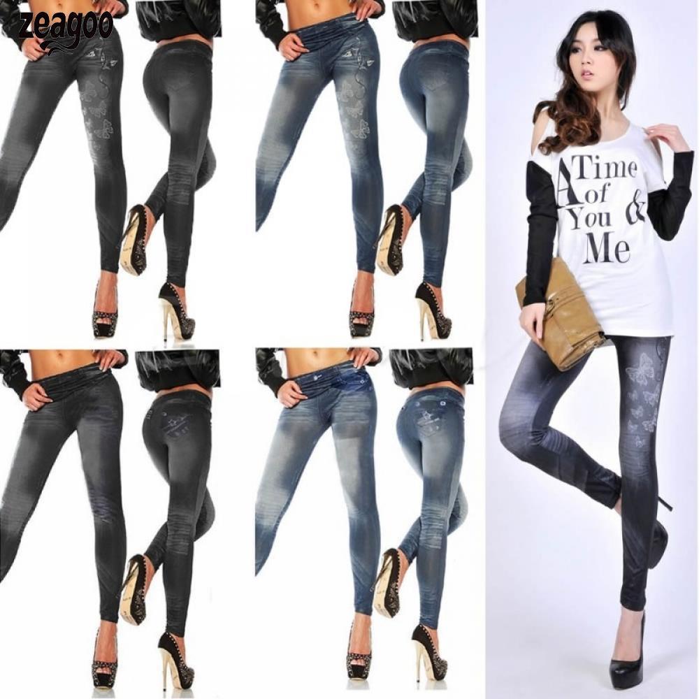 Women Casual Elastic Slim Pencil Pants Autumn Middle Waist Pocket Printed Leggings Trousers Ankle-Length