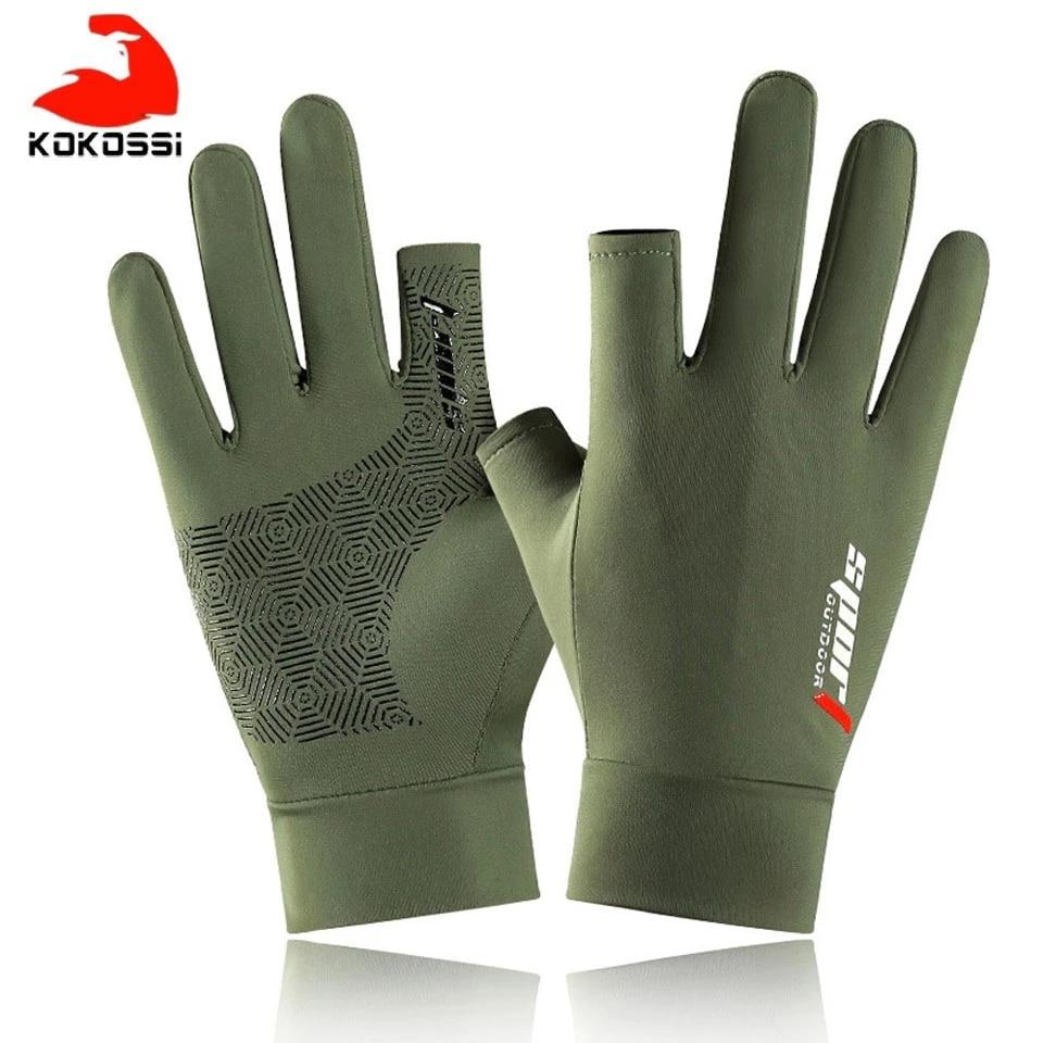 KoKossi New Fishing Gloves Men And Women Two Fingers Gloves Outdoor Gloves Summer Sunscreen Non-slip Gloves Sunscreen Gloves