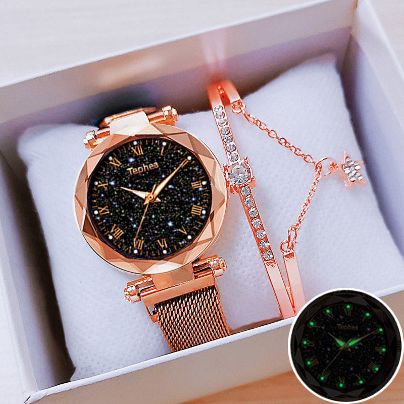 Women Watch Set With Bracelet Box Ladies 2019 Wrist Watches Starry Sky Magnetic Luminous Waterproof Female Watch For Reloj Mujer