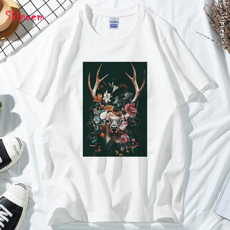 Flower & Deer T shirt Women Harajuku Aesthetic Tumblr Gothic Punk Vintage Kawaii Plus Size Cotton Skipoem Streetwear Top Tees|T-Shirts| - AliExpress