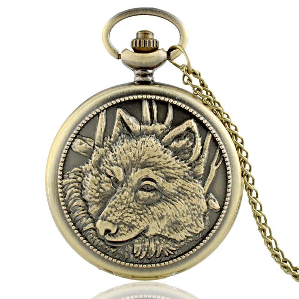 IBEINA Bronze Animal Dog Wolf Head Pendant Antique Pocket Watch Quartz Chain Necklace