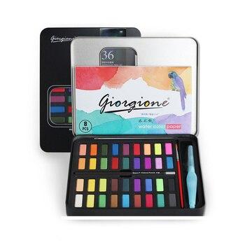 36 colores sólidos acuarela pintura para principiantes acuarela set lata negra caja dibujo acuarela para niños