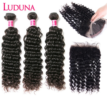 Luduna 360 Lace Frontal With Bundle Deep Wave Hair Bundles With Closure 3 Bundles With Frontal 150% Remy Hair For Black Woman