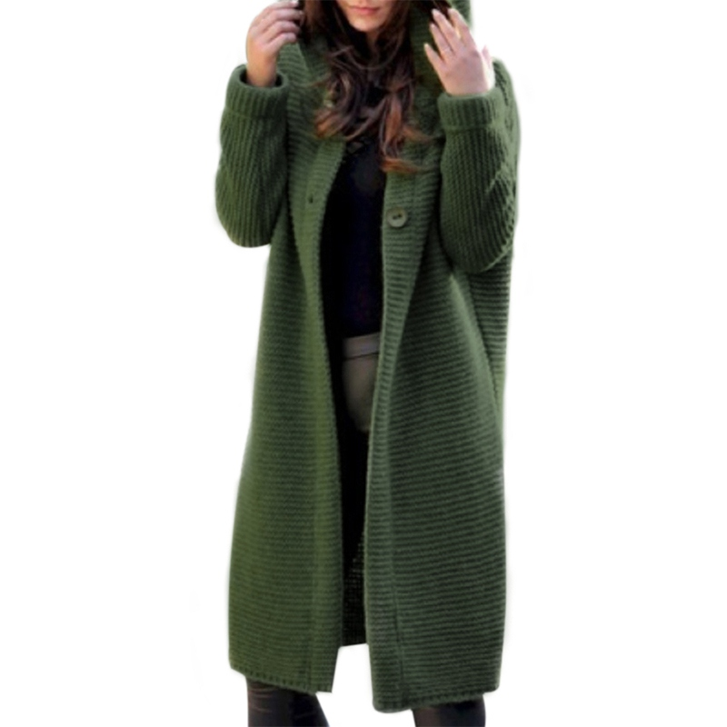 Ladies'sweater Cardigan Coat Autumn And Winter  Long  Fashion Casual Temperament Solid Color Cotton Vitality  Clothes