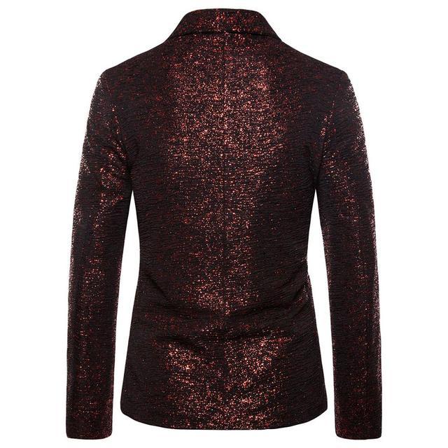 Fashion Men Gold Sequin Blazers Suit For Wedding One Button Shawl Collar Gliter Suit Jacket Men Nightclub DJ Blazer Jackets