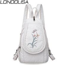 Женская мода вышивка Рюкзак дизайнерский бренд 3 в 1 маленький рюкзак мягкие моющиеся кожаные сумки для женщин 2019 mochila feminina