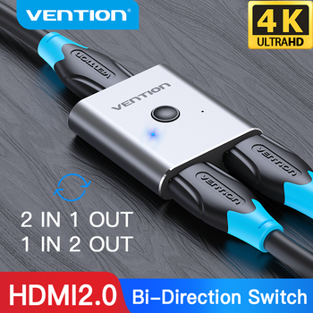 Vention HDMI Switcher 4K Bi-Direction 2.0 HDMI Switch 1x2/2x1 Adapter 2 in 1 out Converter for PS4 Xiaomi TV Box HDMI Splitter 1