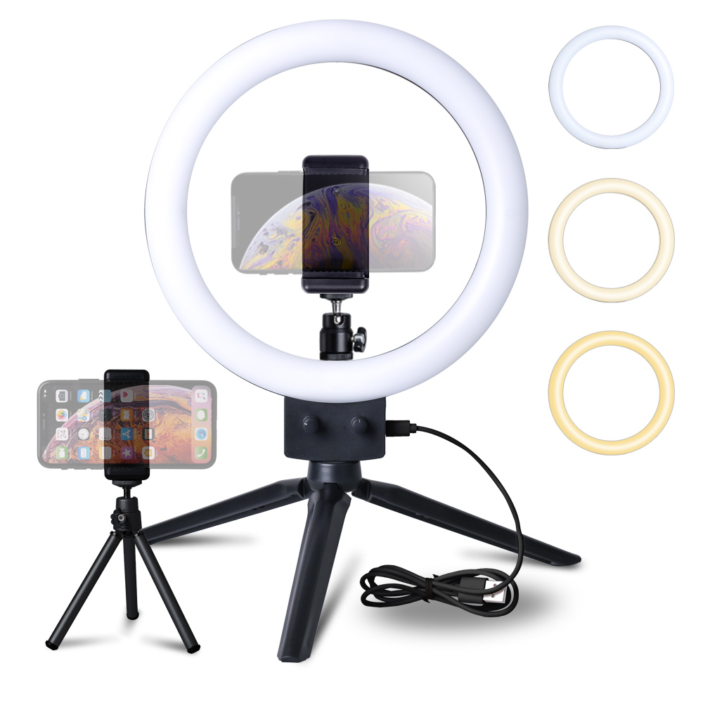 9inch Mini Selfie LED Video Ring Light Lamp With USB Plug Tripod Stand For Tik Tok YouTube Phone Live Photo Photography Studio