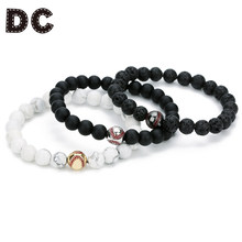Baseball Charm Women Bracelets Trinket Trendy Black White Beaded Bracelets For Women Lava Stone Bangle Party Fashion Jewelry(China)