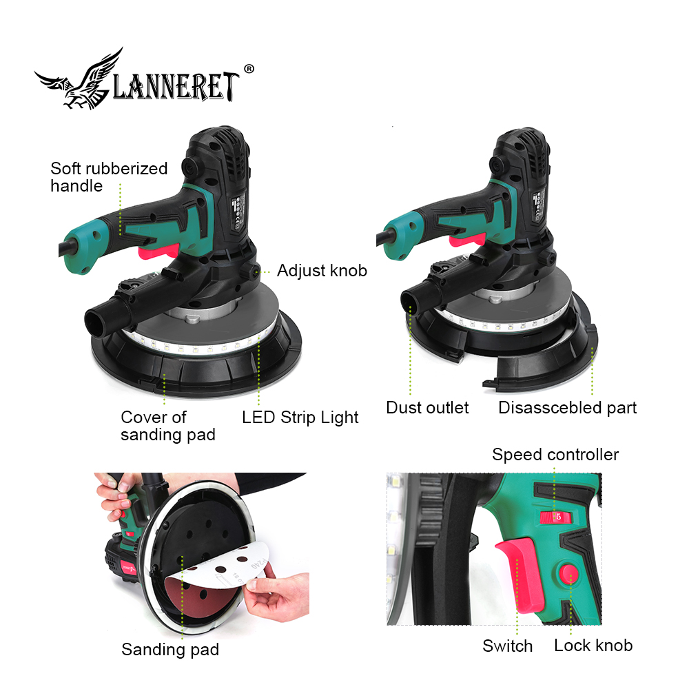 Image 3 - LANNERET Wall Polisher Drywall Sander Handheld Variable Speed Dry Wall Sander LED Strip Light Dust Free  850W / 1280W-in Sanders from Tools on