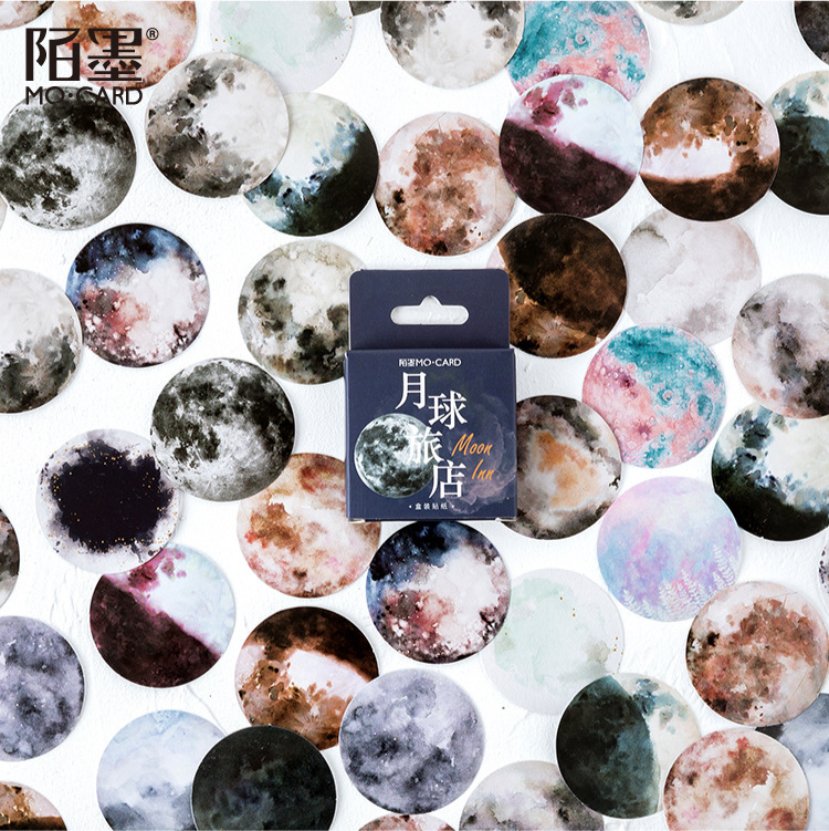 46pcs/pack Romantic Moon Stickers Cartoon Painting Decoration Sticker Flakes Scrapbooking School Supplies