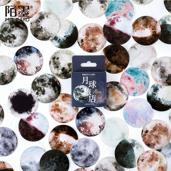 46pcs/pack Romantic Moon Stickers Cartoon Painting Decoration Sticker Flakes Scrapbooking School Supplies - discount item  15% OFF Stationery Sticker