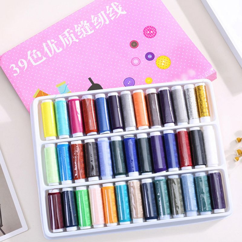 Assorted Color Polyester Sewing Threads Spool Set For Dressmaking Quilting Hand-Stitching Machine-Sewing Accessories 39 Assorted