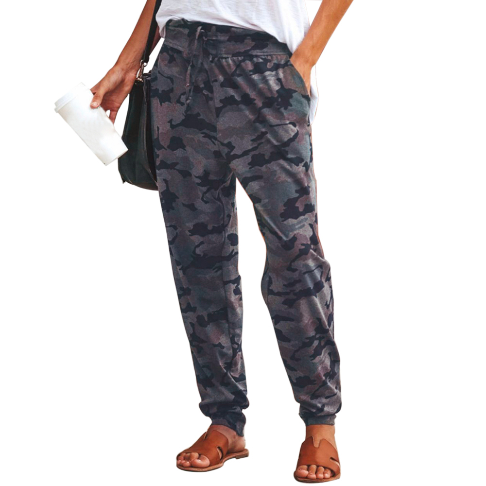 2019 New Women Camo Cargo High Waist Hip Hop Trousers Fashion   Pants   Military Army Combat Camouflage Long   Pants   Hot   Capris