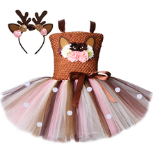 Flower Deer Tutu Dress Tulle Baby Girls Christmas Birthday Party Dress