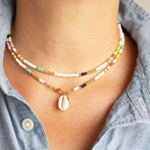 Shell Necklace Rice-Bead Fashion-Items Bohemian-Style Colorful American Personality European