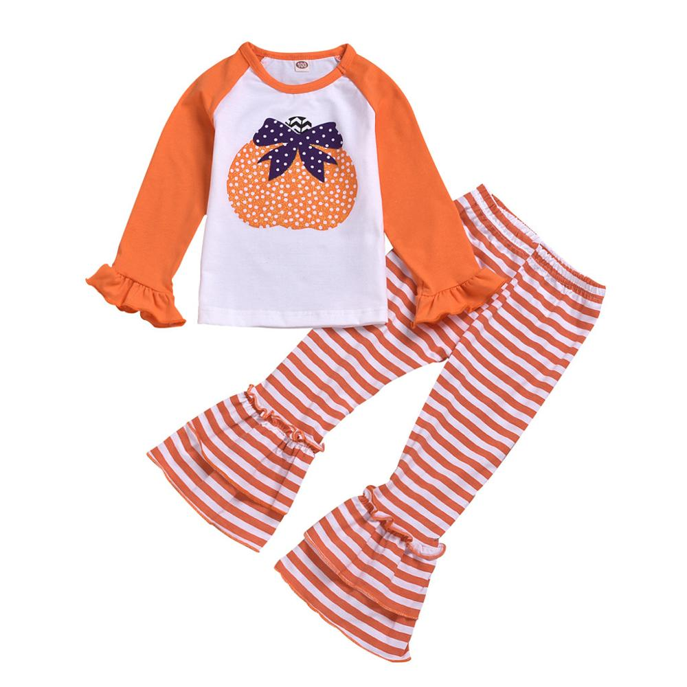 Boutique Kids Clothing Striped Bell Bottoms Pants Pumpkin Top Long Sleeve Halloween Costume Toddler Baby Girls Children Outfits