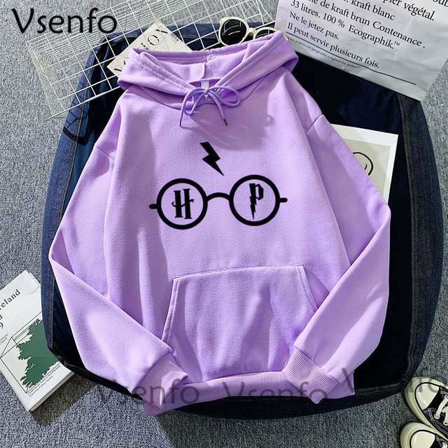 Harajuku Women's Hoodies Hary Style Glasses Print Sweatshirt Pullover Streetwear Moleton Feminino Vintage Clothes Drop 4
