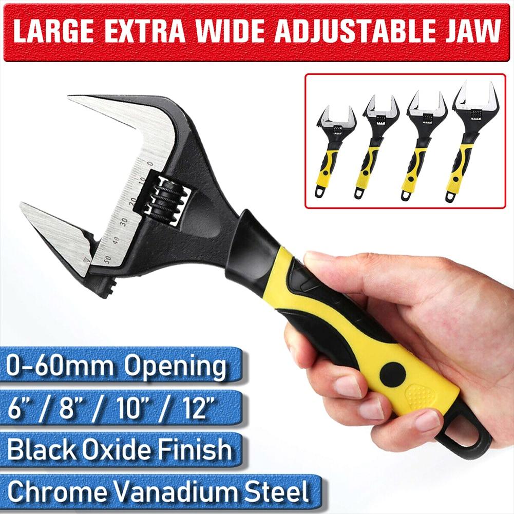 0-60mm Flexible Bathroom Wrench Multifunction Soft Grip Hand Tool Adjustable Spanner Wide Jaw Home Pipe Repair Key Nut Plumbing