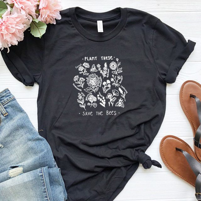 Plant These Harajuku Tshirt Women Causal Save The Bees T-shirt Cotton Wildflower Graphic Tees Woman Unisex Clothes Drop Shipping 24