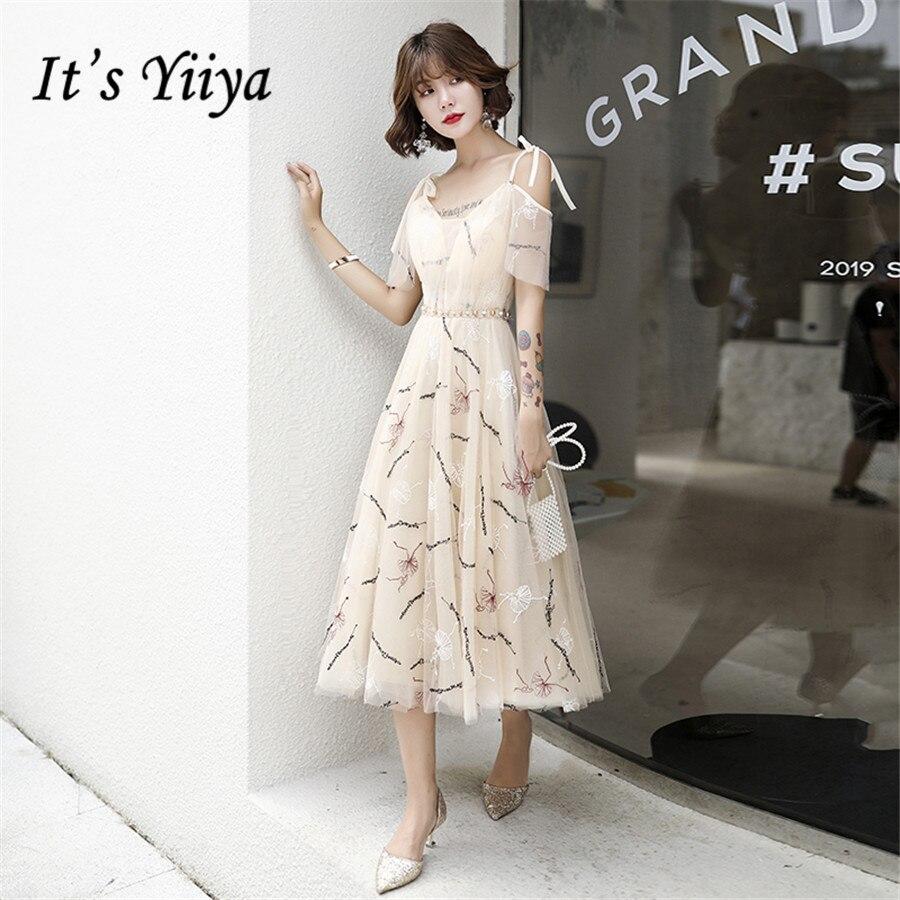 It's Yiiya Prom Dresses 2020 Sweetheart Sling Vestidos De Gala Plus Size Tea-length Elegant Embroidery Women Party Dress E1397