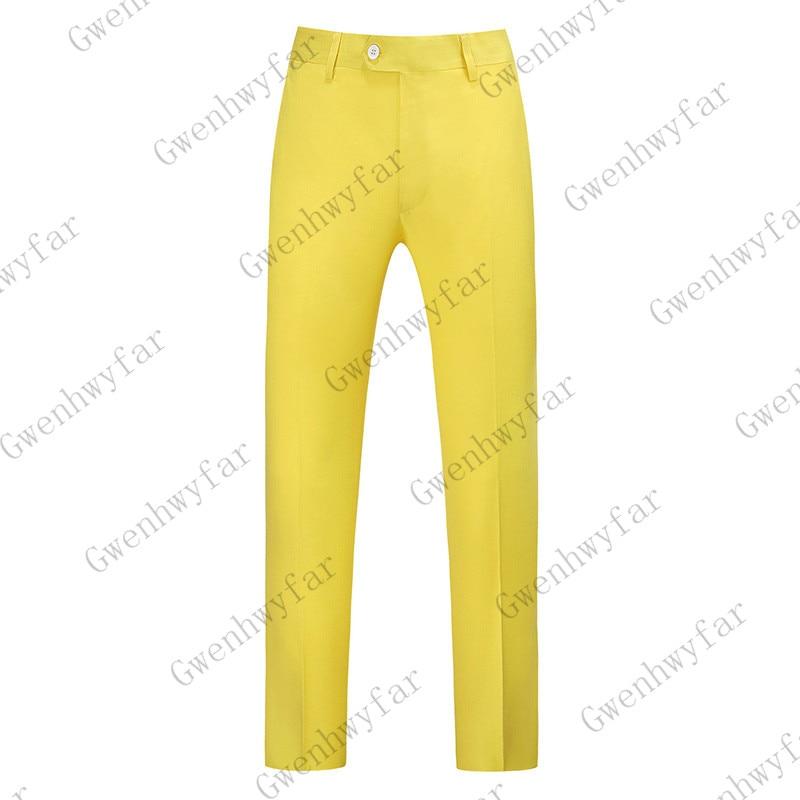 Gwenhwayfar, мужские синие клетчатые брюки, деловой костюм, брюки, деловые повседневные облегающие брюки, Классический Клетчатый костюм, брюки для свадьбы - Цвет: Цвет: желтый