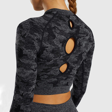 SALSPOR Camo Seamless Yoga Shirts Women Gym Crop Top Long Sleeves Running Sport T-Shirts Fitness Workout Tops