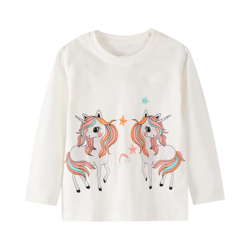 VIDMID baby Girls cotton long sleeve unicorn t-shirts baby kids cartoon casual clothes 2-7 years children t-shirts clothing W01 2