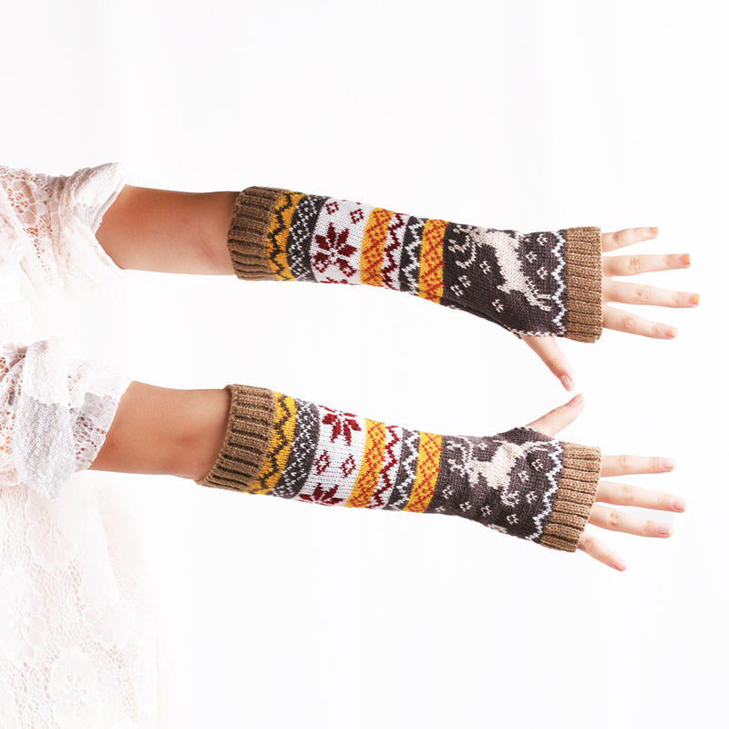 Fashion Women Arm Warmers Winter Fingerless Gloves Knitted Mittens 32cm Long Gloves Guantes Casual Deer/Snowflake Female Gloves