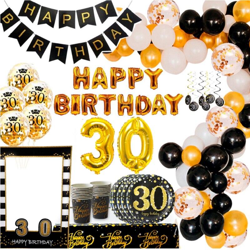 Черный золотой фон Декор-баннер 30 день рождения украшение 30 лет для взрослых День Рождения Декор принадлежности