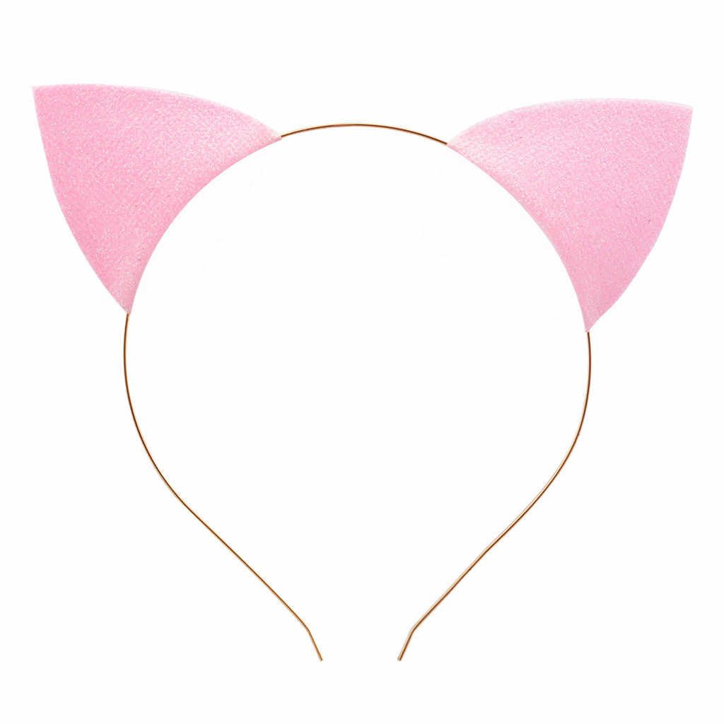Las mujeres brillo gato orejas pelo Clip diadema Cosplay disco punto brillante curva pelo Pelo arcos accesorios para el cabello